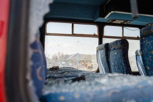 bus accident in california with broken glass